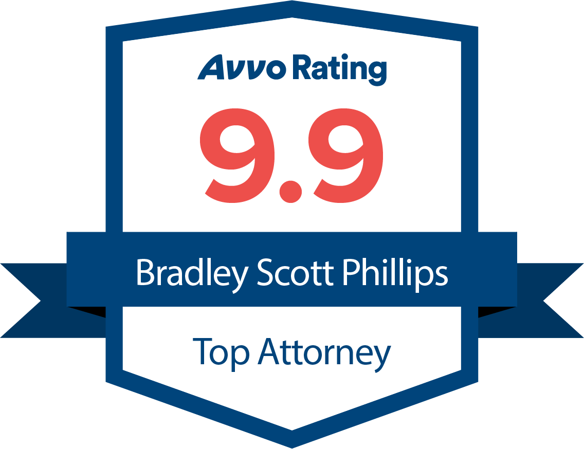 [Logo of] Avvo Rating 9.9 Bradley Scott Phillips Top Attorney