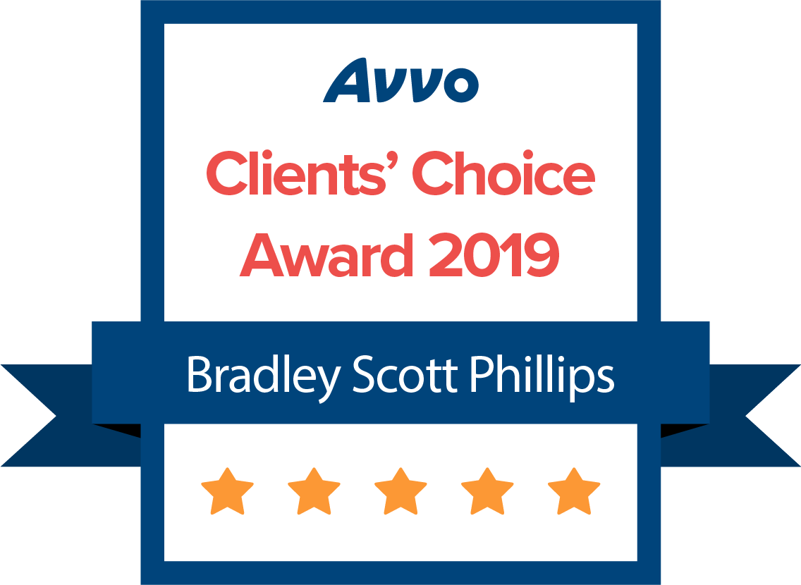 [Logo of] AVVO Clients' Choice Award 2019 - Bradley S. Phillips
